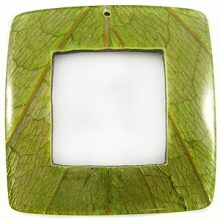 Coconut shell backing square pendant w/ Cab-Caban leaf