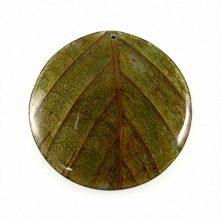 Coconut back round 62mm leaf inlay-green
