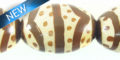 painted wood african print oval 17x25mm