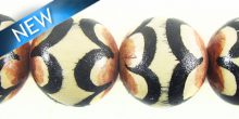 Painted whitewood round bead 15mm brown scallop design