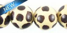 white-wood round hand-painted animal print