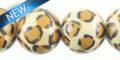 Whitewood round bead leopard print 15mm