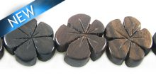 Tiger ebony wood flower shape 15mm