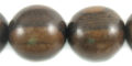 Round Tiger ebony 20mm