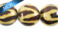 15mm animal print 1 burnt wooden bead
