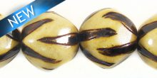 Burnt whitewood round 15mm animal print 2