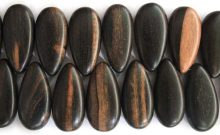 Tiger ebony wood side drilled flat teardrop