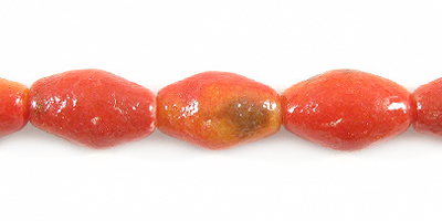 Apple coral limestone football 12x7mm wholesale beads