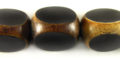 Burnt horn 3-sided black round wholesale beads