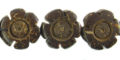 Coconut shell flower design side drilled 12x5mm natural brown