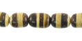 Coconut shell beads oval brown/white