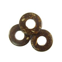 Coconut shell Donut Design 25mm natural brown