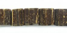 Coconut shell bead cube 10x10x8mm thick natural brown