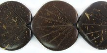 Coconut shell 2-sided leaf carving matural brown