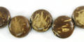 Coconut shell bead coin side drilled natural brown