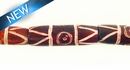 Dyed bone grooved tube brown 6x21mm