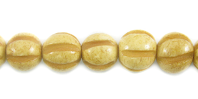 Tea-dyed bone squash design 8mm wholesale beads