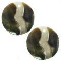 Blacklip shell round earring embossed 20mm