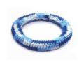 Crochet wood bangle rounded blue wholesale