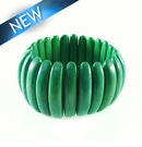 Bleach white wood bracelet green 10x47mm