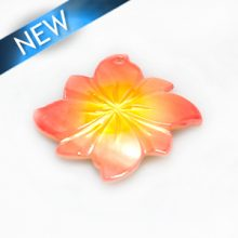 River shell painted red flower pendant wholesale
