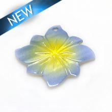 River shell painted blue flower pendant wholesale
