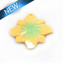 River shell painted light orange flower wholesale pendant