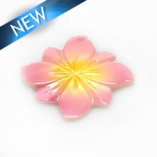 River shell painted pink flower pendant wholesale