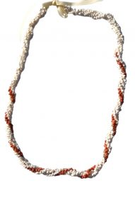 "White & red Monggo shell necklace 32"" wholesale"