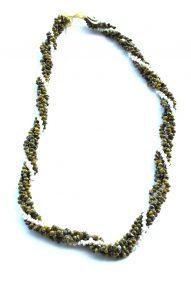 "Green & white Monggo shell necklace 32"" wholesale"