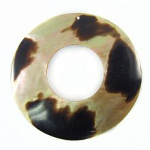 Brownlip donut 35mm moon des. w/ hole wholesale pendants