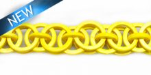 Dyed coco rings yellow; interlink 20mm; wholesale