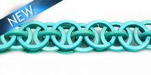 Dyed coco rings turq blue interlink 20mm wholesale