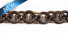 Natural brown coco rings; interlink 20mm wholesale