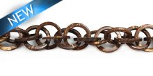 Natural brown coco rings twisted 20mm wholesale beads