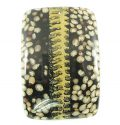 Coconut shell backing rectangular pendant w/ dawa seed inlay