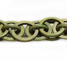 Coconut shell rings dyed khaki green braided