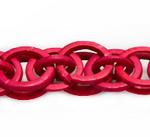 Coconut shell rings dyed red braided