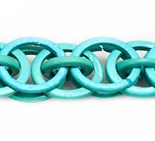 Coconut shell rings dyed turquoise blue braided