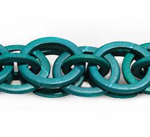 Coconut shell rings dyed turquoise green braided