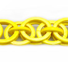 Coconut shell rings dyed yellow braided