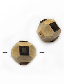 Faceted round unbleached white wood 13mm