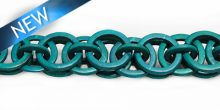Dyed coco rings turq. green; linked wholesale