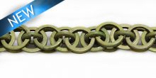 Dyed coco rings khaki grn interlink wholesale