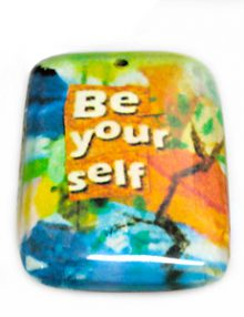 "laminated paper print ""be yourself"" 32mm"