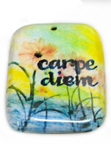 "Laminated paper print ""carpe diem"" 32mm"