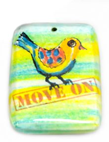 """Laminated paper print """"move on"""" 32mm"""