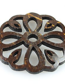 Laser cut brown coconut shell pendant flower shape 43mm