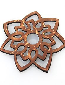 Laser cut brown coconut shell star/sun design 42mm