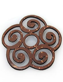 Laser cut brown coconut shell carved pendant 30x20mm